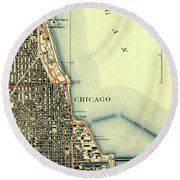 Chicago Old Map Round Beach Towel