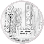 Chicago Theater Marquee Round Beach Towel