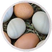 Chicken Eggs Round Beach Towel
