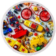 Childhood Toys Round Beach Towel