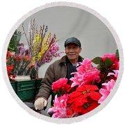 Chinese Bicycle Flower Vendor On Street Shanghai China Round Beach Towel