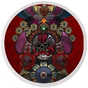 Chinese Masks - Large Masks Series - The Demon Round Beach Towel by Serge Averbukh