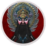 Chinese Masks - Large Masks Series - The Emperor Round Beach Towel