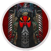 Chinese Masks - Large Masks Series - The Red Face Round Beach Towel by Serge Averbukh