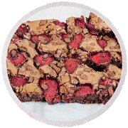 Chocolate Cake With Strawberry On Porcelain Plate Round Beach Towel