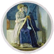 Christ And His Mother Studying The Scriptures Round Beach Towel