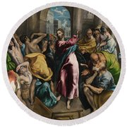 Christ Driving The Traders From The Temple Round Beach Towel