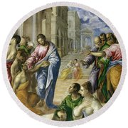 Christ Healing The Blind Round Beach Towel