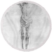 Christ On The Cross Round Beach Towel