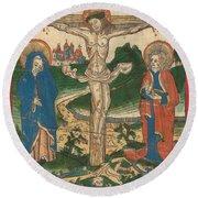 Christ On The Cross Round Beach Towel