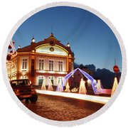 Christmas In Ribeira Grande Round Beach Towel