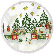 Christmas Picture In Green And Yellow Colours Round Beach Towel