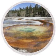 Chromatic Pool Hot Spring, Upper Geyser Round Beach Towel by Richard Roscoe
