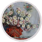 Chrysanthemums Round Beach Towel