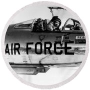 Chuck Yeager, Usaf Officer And Test Round Beach Towel