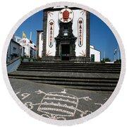 Church In The Azores Round Beach Towel