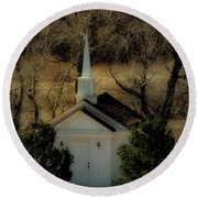 Church In The Garden Round Beach Towel