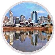 Cincinnati Reflects Round Beach Towel