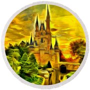 Cinderella Castle - Van Gogh Style Round Beach Towel