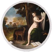 Circe And Her Lovers In A Landscape Round Beach Towel