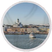 City By The Sea Round Beach Towel