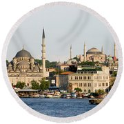 City Of Istanbul Round Beach Towel