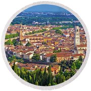 City Of Verona Old Center And Adige River Aerial Panoramic View Round Beach Towel