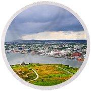 Cityscape Of Saint John's From Signal Hill Round Beach Towel