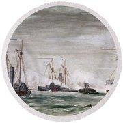 Civil War: Naval Battle Round Beach Towel