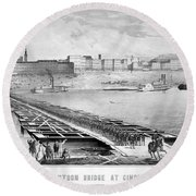 Civil War: Pontoon Bridge Round Beach Towel