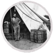 Civil War Soldier Round Beach Towel