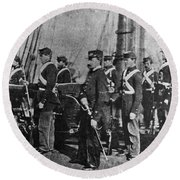 Civil War: Uss Kearsarge Round Beach Towel