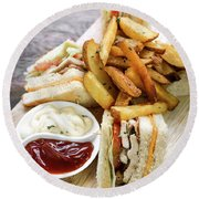 Classic Club Sandwich With Fries On Wooden Board Round Beach Towel