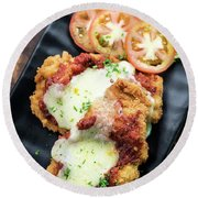 Classic  Italian Chicken Parmigiana With Cheese And Tomato Sauce Round Beach Towel