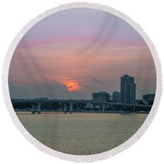 Clearwater At Sunrise Round Beach Towel