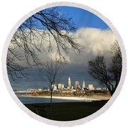 Cleveland Winter Dawn Round Beach Towel