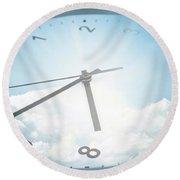 Clock In Sky 2 Round Beach Towel