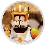 Clone Trooper Commander - Free Style Style Round Beach Towel