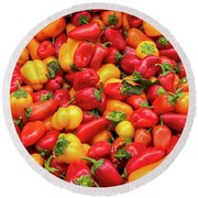 Close Up View Of Small Bell Peppers Of Various Colors Round Beach Towel
