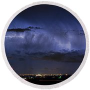 Cloud To Cloud Lightning Boulder County Colorado Round Beach Towel