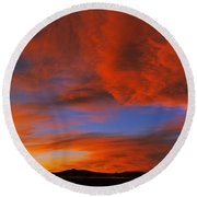 Clouds In The Sky At Sunset, Taos, Taos Round Beach Towel