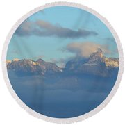 Cloudy Sky Surrounding The Dolomite Mountains In Italy  Round Beach Towel