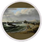 Coastal Scene Round Beach Towel