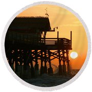 Cocoa Beach Pier/sunrise Round Beach Towel