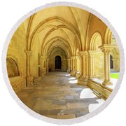 Coimbra Cathedral Colonnade Round Beach Towel