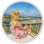 Coimbra Cityscape Woman Round Beach Towel