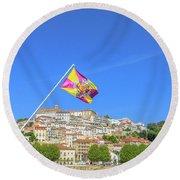 Coimbra Skyline Portugal Round Beach Towel