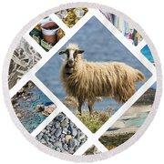 Collage Of Crete  Round Beach Towel
