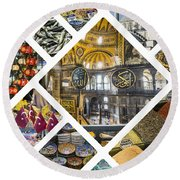 Collage Of Istanbul Round Beach Towel