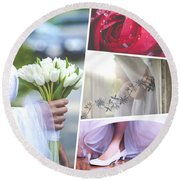 Collage Of Wedding Time Sensational Round Beach Towel
